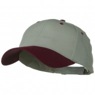 Two Tone Cotton Twill Low Profile Strap Cap - Maroon Grey