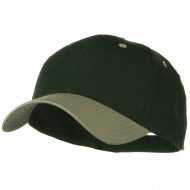 Two Tone Cotton Twill Low Profile Strap Cap - Khaki Dark Green