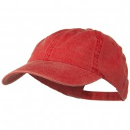 Washed Solid Pigment Dyed Cotton Twill Brass Buckle Cap - Red