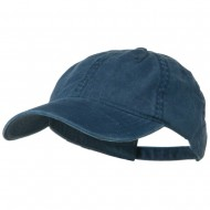 Washed Solid Pigment Dyed Cotton Twill Brass Buckle Cap - Navy