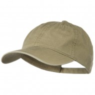 Washed Solid Pigment Dyed Cotton Twill Brass Buckle Cap - Khaki