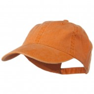Washed Solid Pigment Dyed Cotton Twill Brass Buckle Cap - PKN Orange