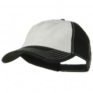 Superior Garment Washed Cotton Twill Frayed Visor Cap - Black White Black