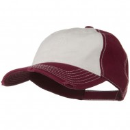 Superior Garment Washed Cotton Twill Frayed Visor Cap - Burgundy White Burgundy
