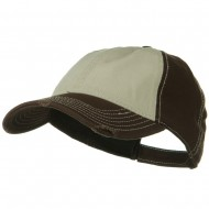 Superior Garment Washed Cotton Twill Frayed Visor Cap - Brown Khaki Brown