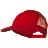 Solid Cotton Twill Low Profile Nylon Mesh Back Cap - Red