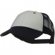 Two Tone Polyester Foam Front Mesh Back Cap - Navy White Navy