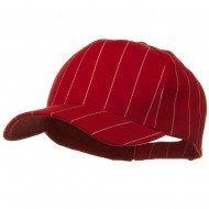 Pin Striped Adjustable Baseball Cap - Red