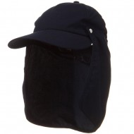 Water Repellent Microfiber Sun Block Flap Cap - Navy