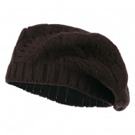 Acrylic Cable Knit Beret - Brown