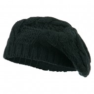 Acrylic Cable Knit Beret - Grey