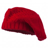 Acrylic Cable Knit Beret - Red