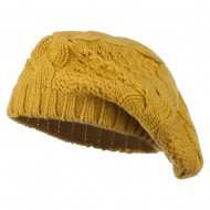 Acrylic Cable Knit Beret - Mustard