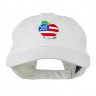 Apple American Flag Embroidered Cap - White