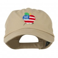 Apple American Flag Embroidered Cap - Khaki
