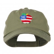 Apple American Flag Embroidered Cap - Olive