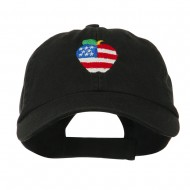 Apple American Flag Embroidered Cap - Black