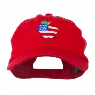 Apple American Flag Embroidered Cap - Red
