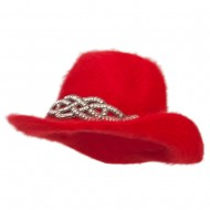 Angora Cowboy Hat with Decoration - Red