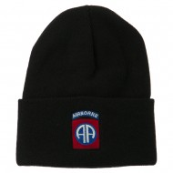 82nd Airborne Military Embroidered Beanie - Black