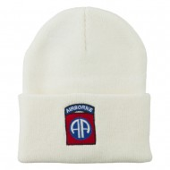 82nd Airborne Military Embroidered Beanie - White