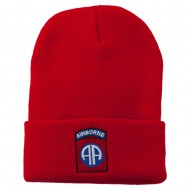 82nd Airborne Military Embroidered Beanie - Red