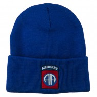 82nd Airborne Military Embroidered Beanie - Royal