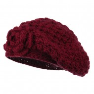 Women's Flower Accent Beret - Burgundy