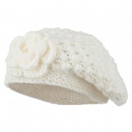 Women's Flower Accent Beret - Cream
