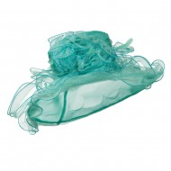 Feather and Lace Accent Organza Hat - Turquoise
