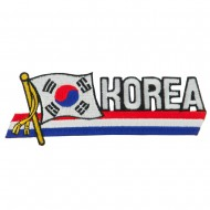 Asia Flag Cutout Embroidered Patches - Korea