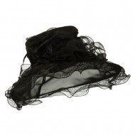Feather and Lace Accent Organza Hat - Black