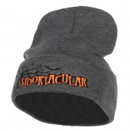 Halloween Spooktacular Embroidered Long Beanie - Dk Grey