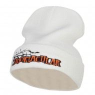 Halloween Spooktacular Embroidered Long Beanie - White