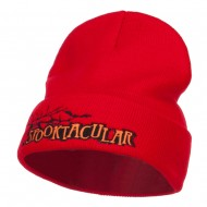 Halloween Spooktacular Embroidered Long Beanie - Red