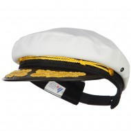 Adjustable Cotton Captain Hat - White