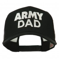 Army Dad Embroidered Cotton Twill Mesh Cap - Black