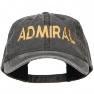 Admiral Embroidered Washed Buckle Cap - Black