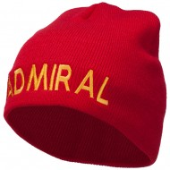 Admiral Embroidered Short Beanie - Red