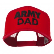Army Dad Embroidered Cotton Twill Mesh Cap - Red