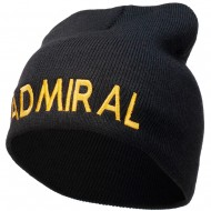 Admiral Embroidered Short Beanie - Black