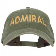 Admiral Embroidered Washed Buckle Cap - Olive