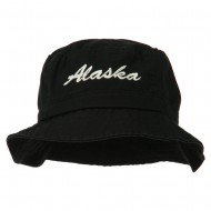 Alaska Embroidered Pigment Dyed Bucket Hat - Black