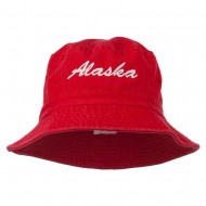 Alaska Embroidered Pigment Dyed Bucket Hat - Red