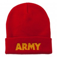 Army Embroidered Long Knitted Beanie - Red