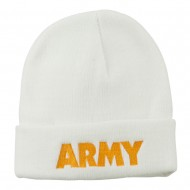 Army Embroidered Long Knitted Beanie - White
