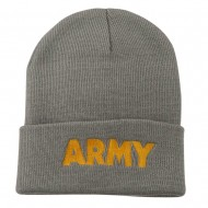 Army Embroidered Long Knitted Beanie - Grey