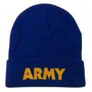 Army Embroidered Long Knitted Beanie - Royal