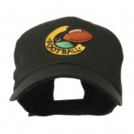 American Football Field and Ball Embroidered Cap - Black