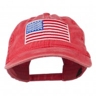 American Flag Embroidered Washed Cap - Red